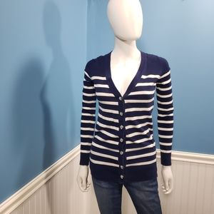 ❤️3/$25❤️ Forever 21 Striped Blue White Cardigan S